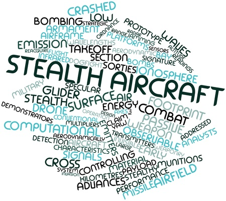 countermeasures: Abstract word cloud for Stealth aircraft with related tags and terms Stock Photo