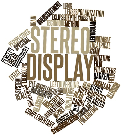 polarization: Abstract word cloud for Stereo display with related tags and terms