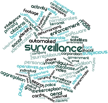 enforcement: Abstract word cloud for Surveillance with related tags and terms Stock Photo