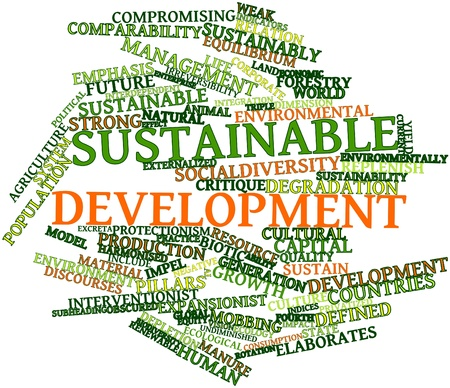 interdependent: Abstract word cloud for Sustainable development with related tags and terms