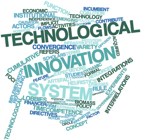 Abstract word cloud for Technological innovation system with related tags and terms Stock Photo - 16500262