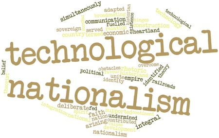 hinges: Abstract word cloud for Technological nationalism with related tags and terms Stock Photo