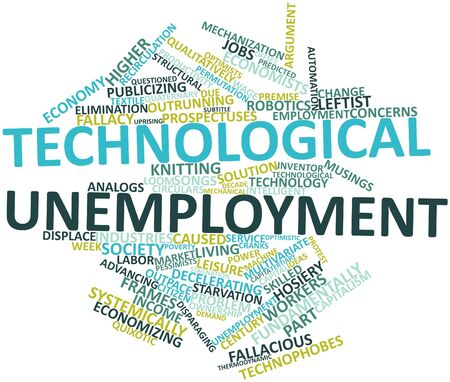 technological: Abstract word cloud for Technological unemployment with related tags and terms