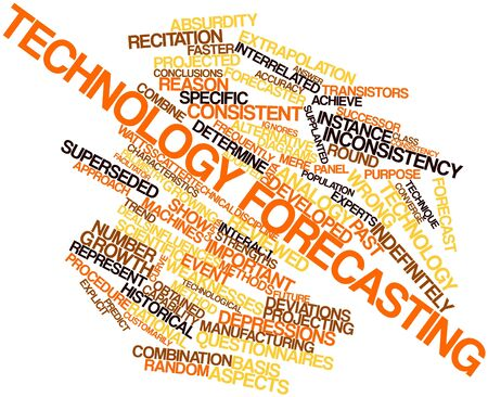 specific: Abstract word cloud for Technology forecasting with related tags and terms Stock Photo