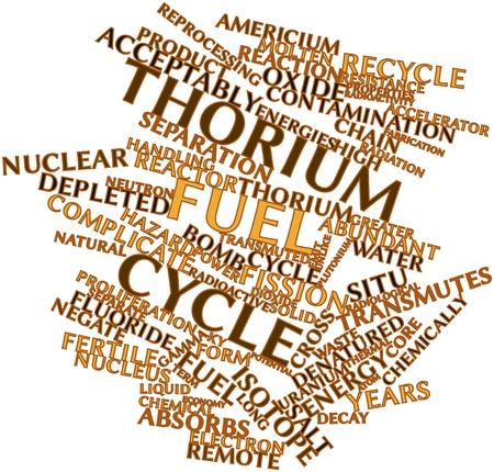 fabricate: Abstract word cloud for Thorium fuel cycle with related tags and terms Stock Photo