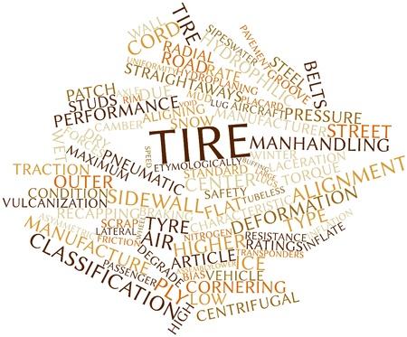 Abstract woordwolk voor Tire met gerelateerde tags en voorwaarden