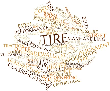 tubeless: Abstract word cloud for Tire with related tags and terms Stock Photo