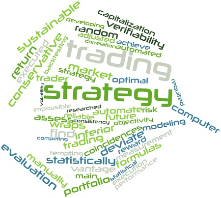 reduces: Abstract word cloud for Trading strategy with related tags and terms Stock Photo