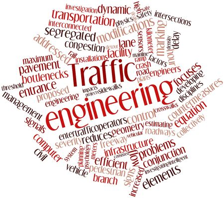 Abstract word cloud for Traffic engineering with related tags and terms photo