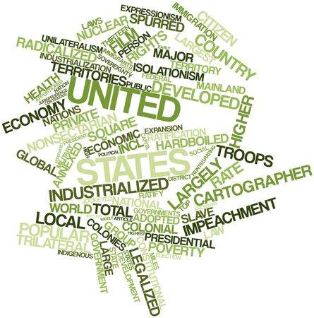spurred: Abstract word cloud for United States with related tags and terms