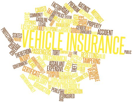 actuary: Abstract word cloud for Vehicle insurance with related tags and terms