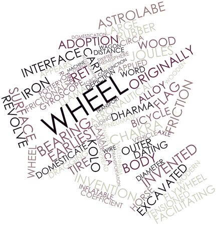 axial: Abstract word cloud for Wheel with related tags and terms Stock Photo
