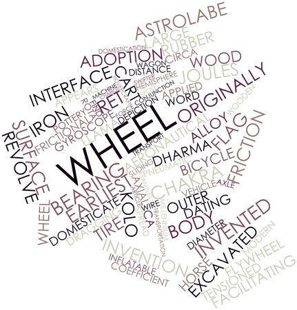 aéroglisseur: Nuage de mots abstraits pour la roue avec des étiquettes et des termes connexes Banque d'images