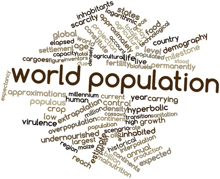 virulence: Abstract word cloud for World population with related tags and terms Stock Photo