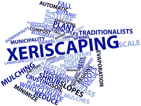 irrigated: Abstract word cloud for Xeriscaping with related tags and terms Stock Photo