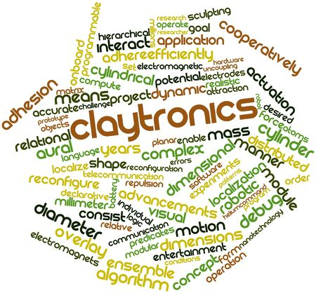 declarative: Abstract word cloud for Claytronics with related tags and terms Stock Photo