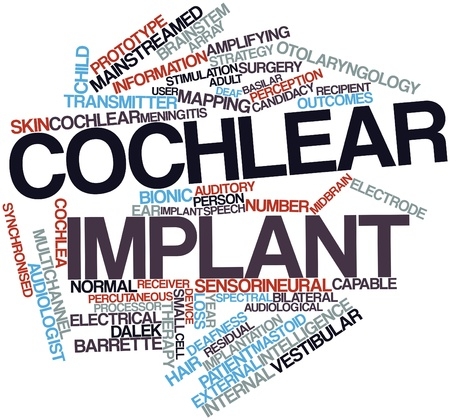 necrosis: Abstract word cloud for Cochlear implant with related tags and terms Stock Photo