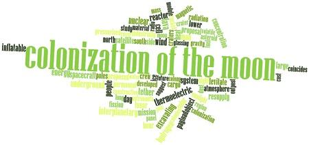 colonisation: Word cloud astratto per la colonizzazione della Luna con tag correlati e termini Archivio Fotografico