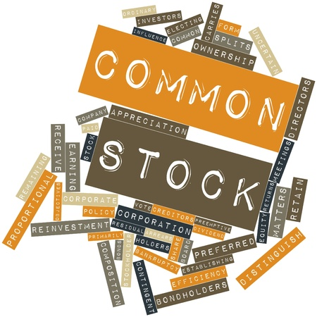 Abstract word cloud for Common stock with related tags and terms photo