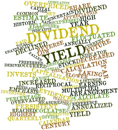 listings: Abstract word cloud for Dividend yield with related tags and terms