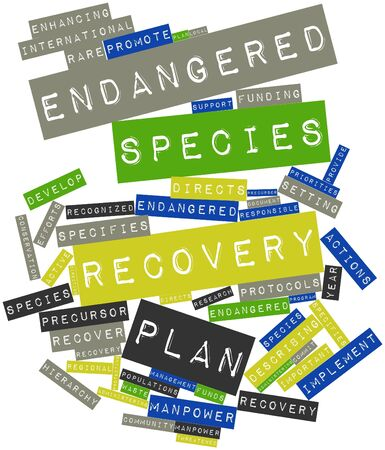 waste recovery: Abstract word cloud for Endangered species recovery plan with related tags and terms