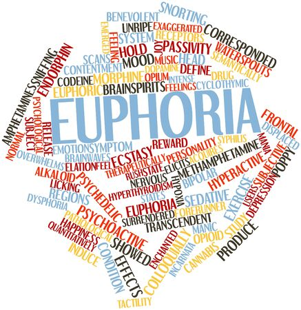 receptors: Abstract word cloud for Euphoria with related tags and terms Stock Photo