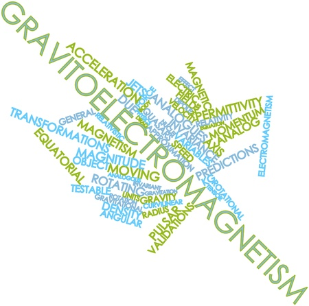 Abstract word cloud for Gravitoelectromagnetism with related tags and terms photo