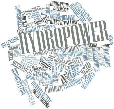 hydraulic: Abstract word cloud for Hydropower with related tags and terms Stock Photo