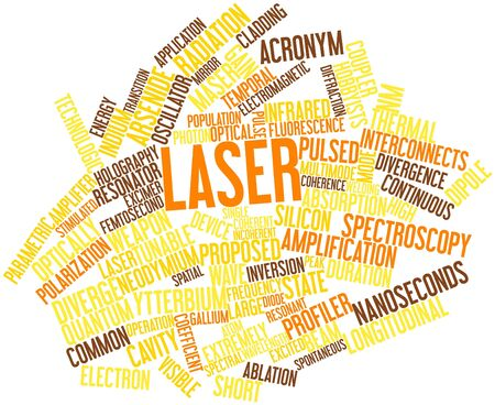 electrically: Abstract word cloud for Laser with related tags and terms Stock Photo