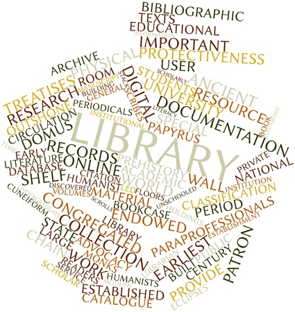 Abstract word cloud for Library with related tags and terms Stock Photo - 16500842