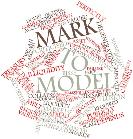 Abstract word cloud for Mark to model with related tags and terms Stock Photo - 16500729
