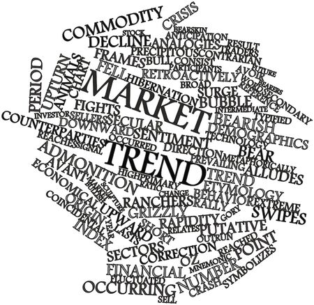 culminating: Abstract word cloud for Market trend with related tags and terms Stock Photo