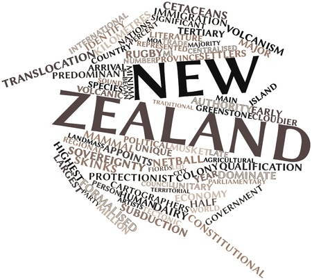 approximately: Abstract word cloud for New Zealand with related tags and terms Stock Photo