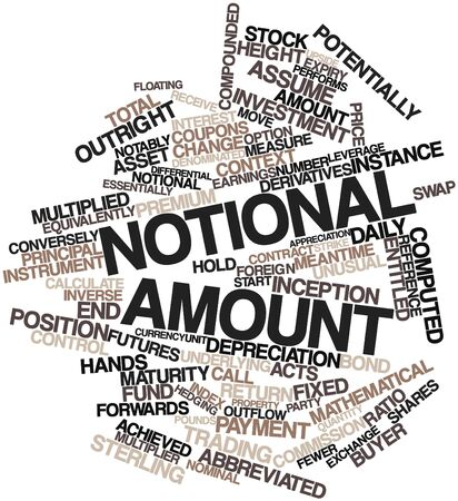 equity: Abstract word cloud for Notional amount with related tags and terms