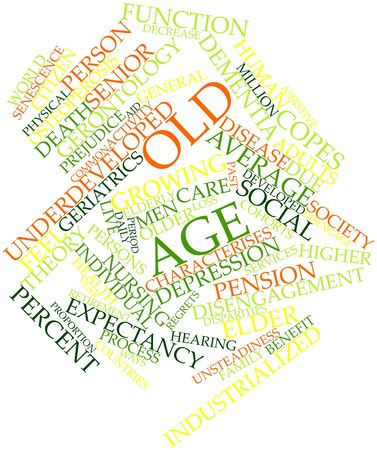 afflict: Abstract word cloud for Old age with related tags and terms