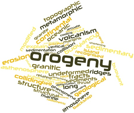 geologists: Abstract word cloud for Orogeny with related tags and terms