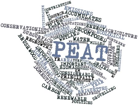 decomposed: Abstract word cloud for Peat with related tags and terms Stock Photo