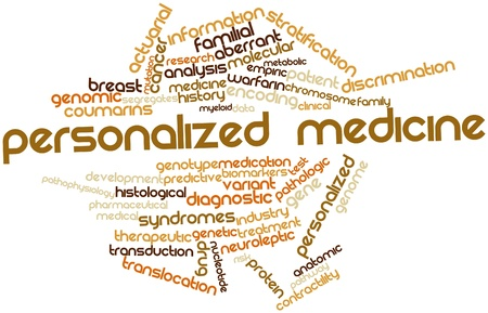 predictive: Word cloud astratto per la medicina personalizzata con tag correlati e termini Archivio Fotografico