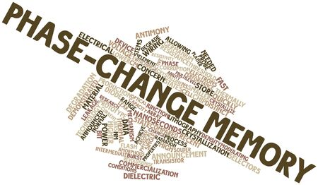 nm: Abstract word cloud for Phase-change memory with related tags and terms Stock Photo