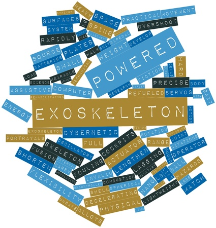 accelerating: Abstract word cloud for Powered exoskeleton with related tags and terms Stock Photo