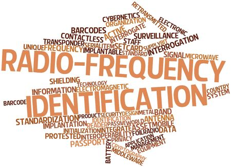 radio active: Abstract word cloud for Radio-frequency identification with related tags and terms Stock Photo