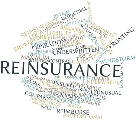 stated: Abstract word cloud for Reinsurance with related tags and terms Stock Photo