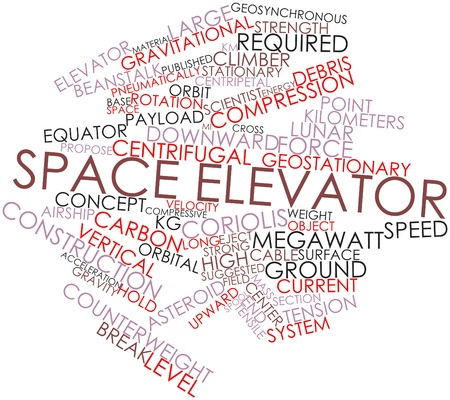 throughput: Abstract word cloud for Space elevator with related tags and terms Stock Photo