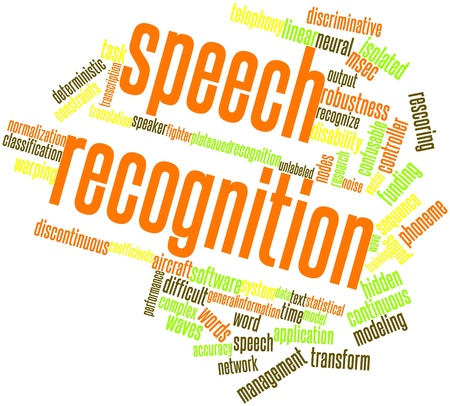 Abstract word cloud for Speech recognition with related tags and terms Stock Photo - 16500068