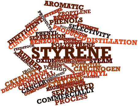 styrene: Abstract word cloud for Styrene with related tags and terms Stock Photo