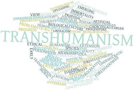 transcendence: Abstract word cloud for Transhumanism with related tags and terms