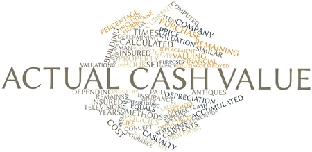 year financial statements: Abstract word cloud for Actual cash value with related tags and terms