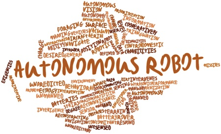 general maps: Abstract word cloud for Autonomous robot with related tags and terms Stock Photo