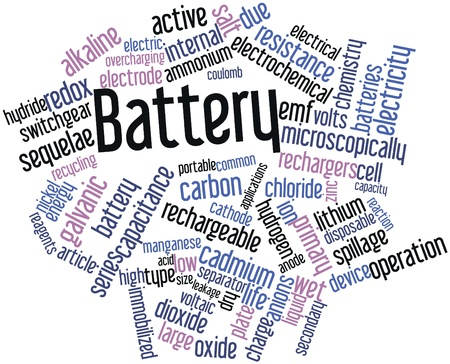 spillage: Abstract word cloud for Battery with related tags and terms Stock Photo