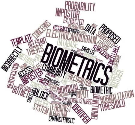 Abstract word cloud for Biometrics with related tags and terms photo